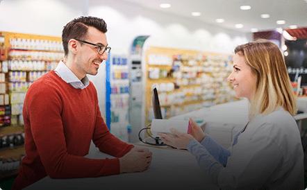 Pharma sales rep with customer