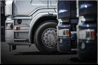 Truck fleet on road