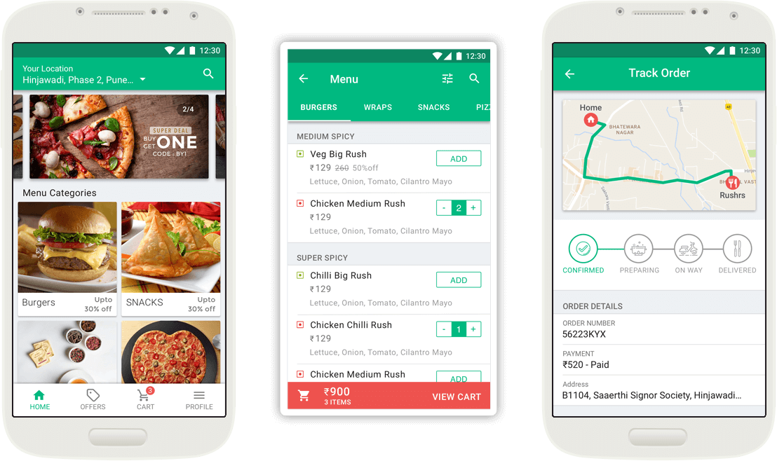 Food Delivery App Screens Mobisoft Infotech