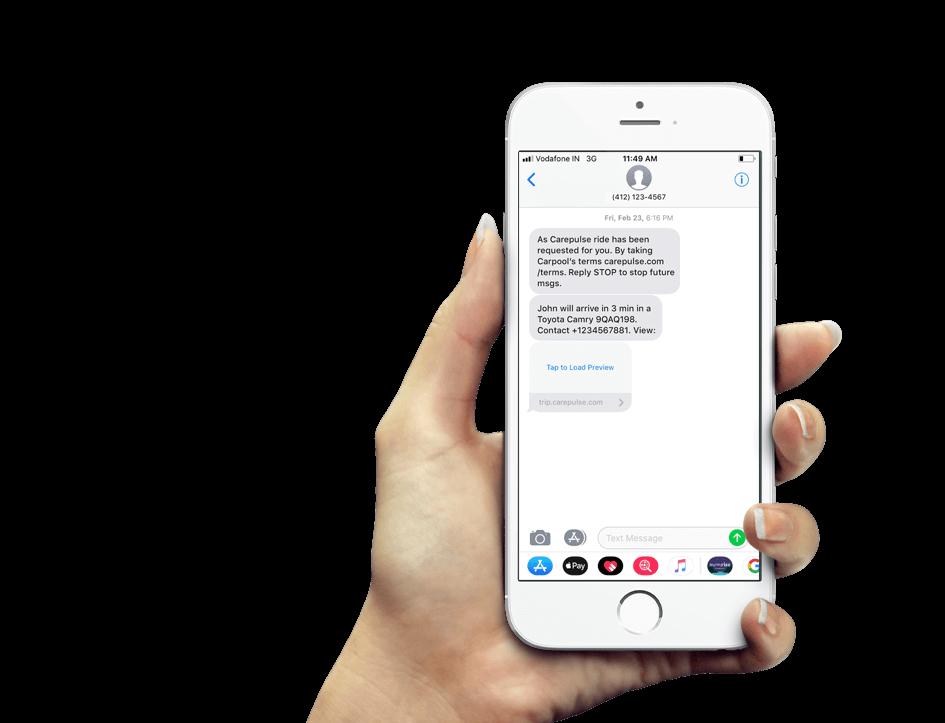 NEMT software patient sms alerts screen