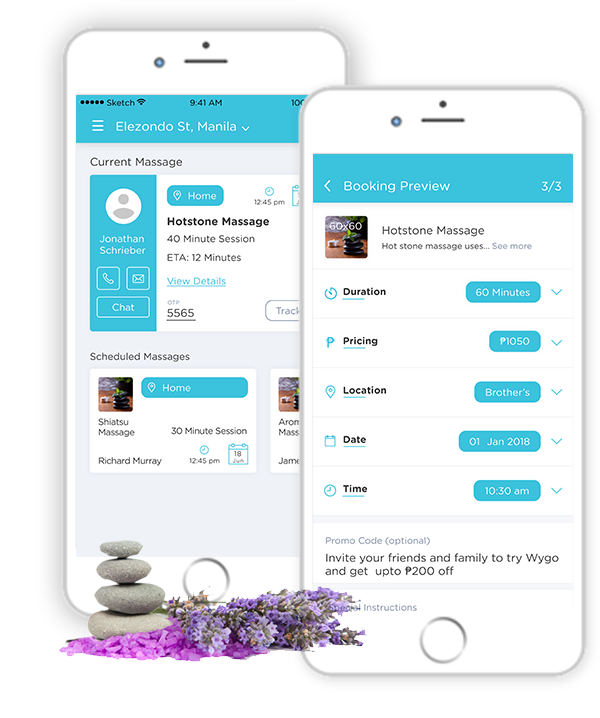 Mobile screen that helps customers to book-on-demand massage