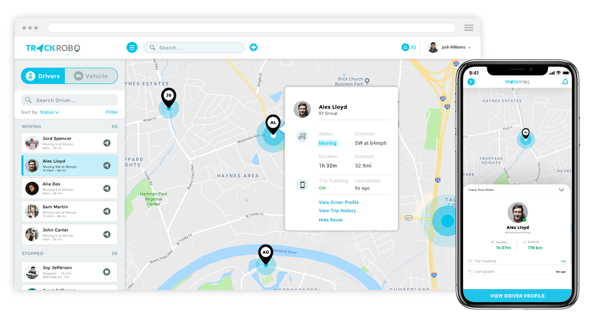 solution overview trackrobo fleet tracking app mobisoft infotech