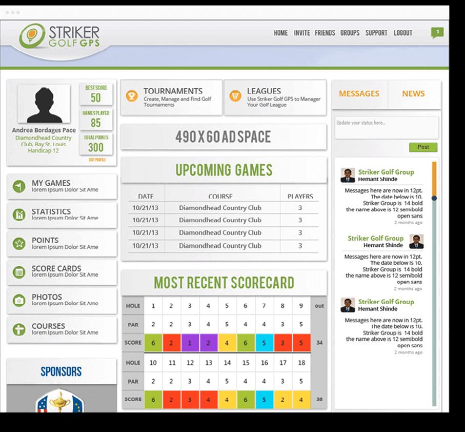 striker golf custom web design and development mobisoft infotech