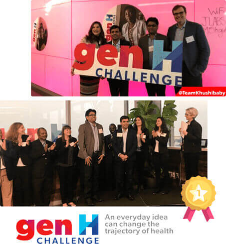 Khushi Baby With Mobisoft CEO Shailendra Sinhasane Winning the Johnson and Johnson GenH Challenge