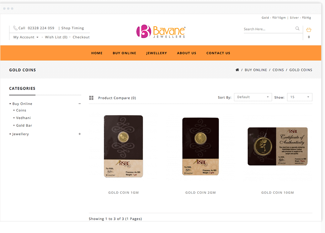 opencart development india Bavane Jewellers by mobisoft-infotech
