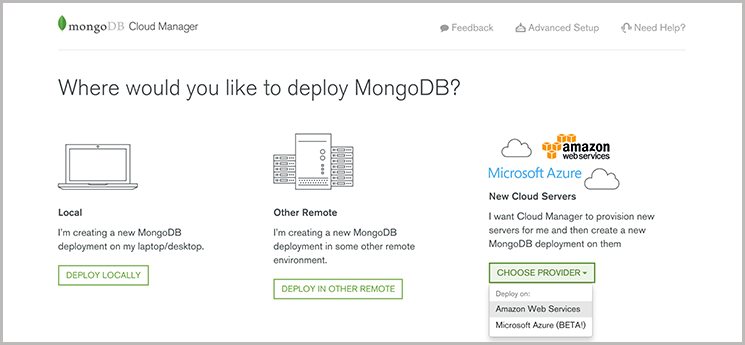 mongocm- select service provider