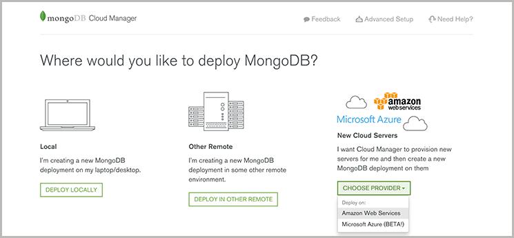 mongocm- select service provider
