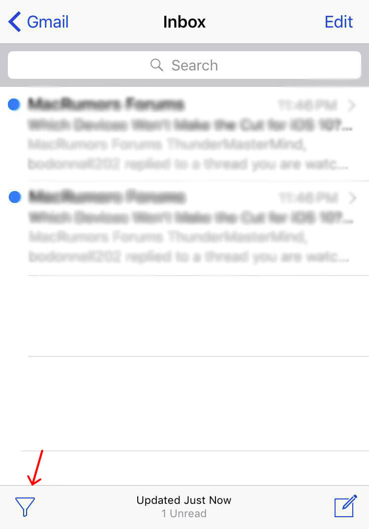 Email Filter iOS 10