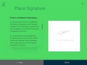 digital signature on ipad visitor management app mobisoft infotech
