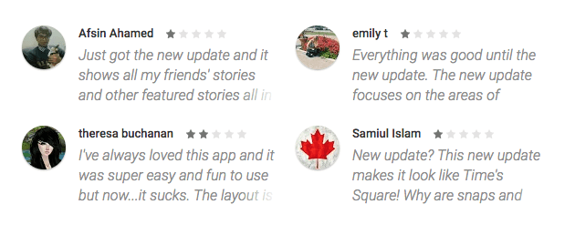 poor app ratings from unhappy users