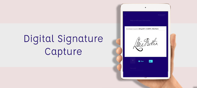 digital signature capture feature in a visitor management system