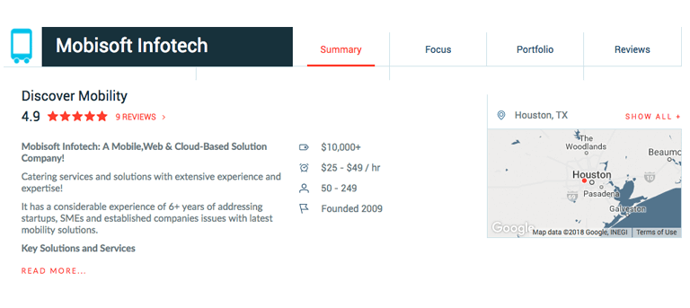mobisoft infotech clutch profile view