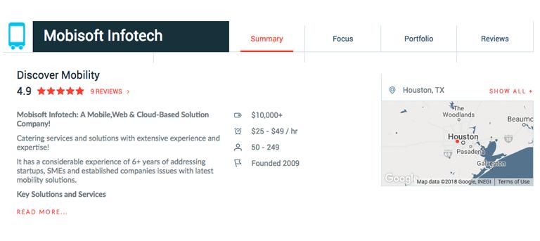 mobisoft infotech clutch profile view