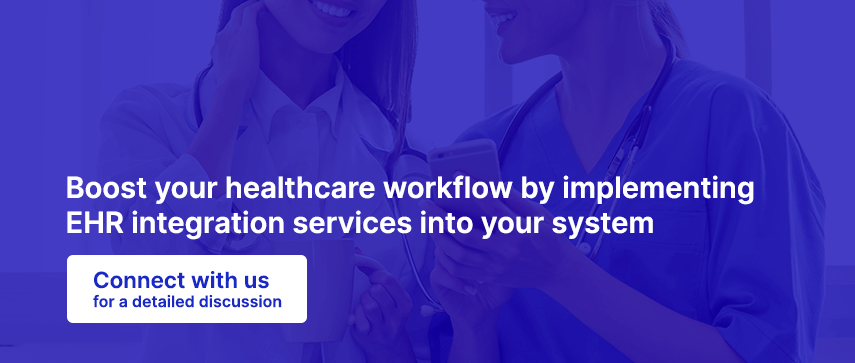 Boost your healthcare workflow by implementing EHR integration services into your system, Connect with us for a detailed discussion